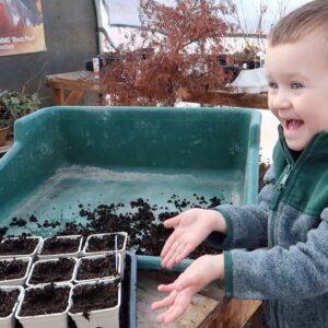 Starting Flower Seeds w/ Benjamin! 💙🌿👩🌾 (Snapdragons, Dahlias, Columbine & Love in a Puff)