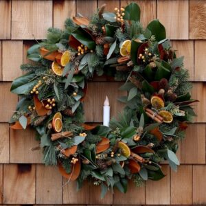 Creating a Festive Wreath with Natural Materials! 🌿🕯// Garden Answer